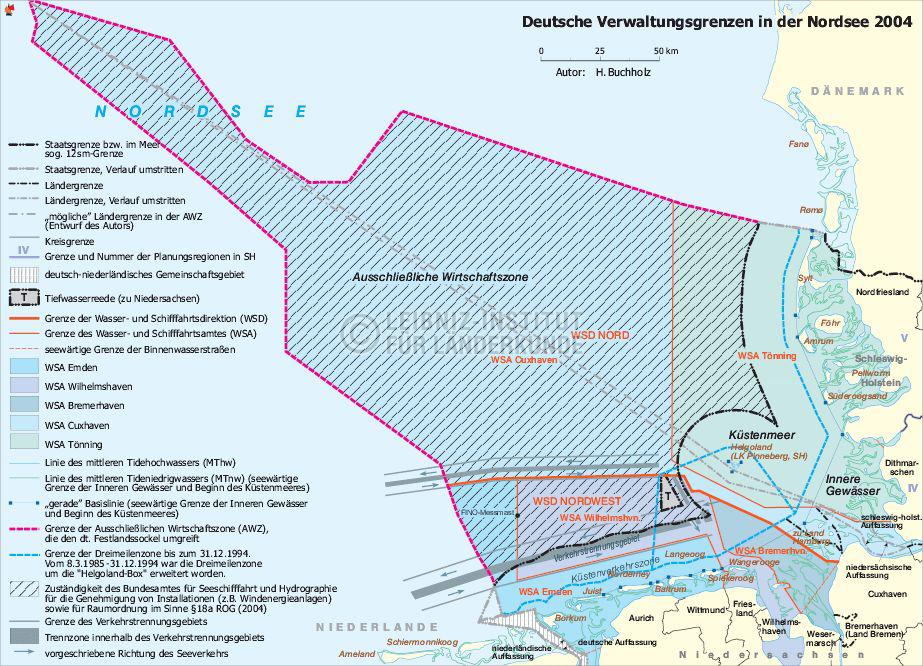 Deutsche Nordseeküste Karte.Verwaltungsgrenzen Deutsche Nordsee 2004 Nationalatlas Archiv