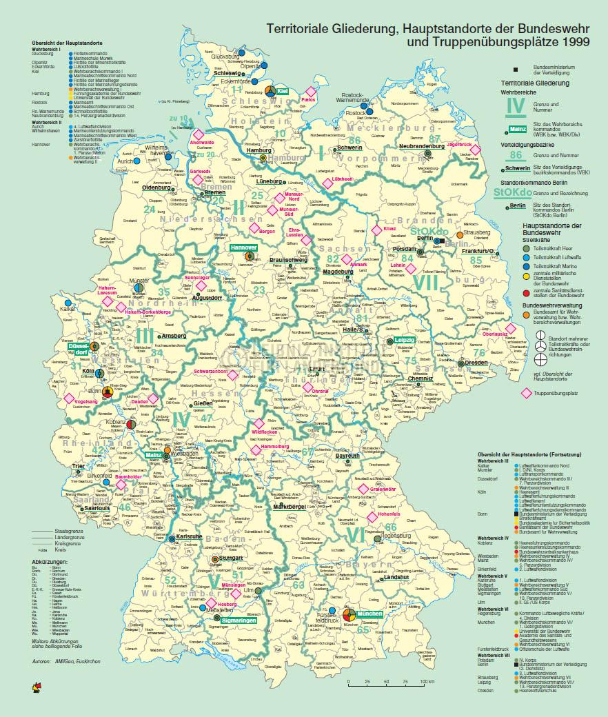 Territoriale Gliederung Hauptstandorte Der Bundeswehr Und