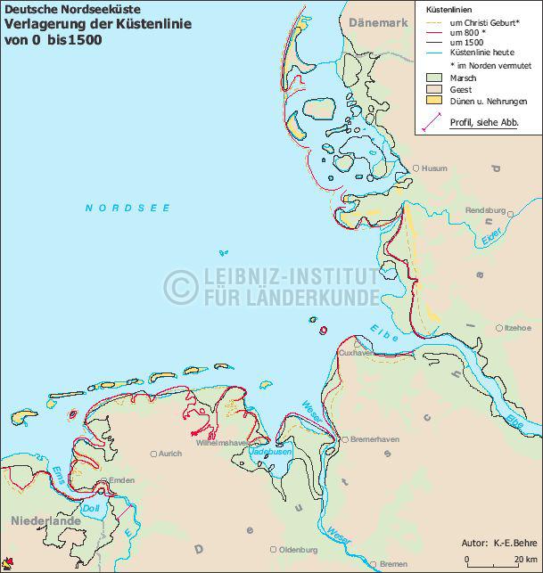 Verlagerung Der Kustenlinie Deutsche Nordseekuste 0 1500
