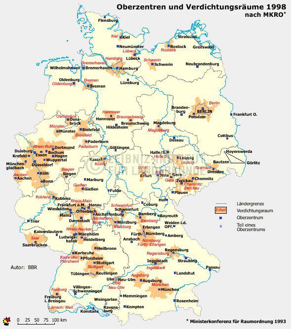 verdichtungsräume in deutschland karte Oberzentren und Verdichtungsräume. 1998 | Nationalatlas   Archiv