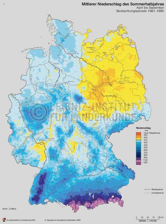 Mittlerer Niederschlag Des Sommerhalbjahres April Bis September
